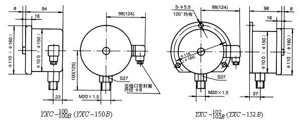 yxc-100-磁助电接点压力表