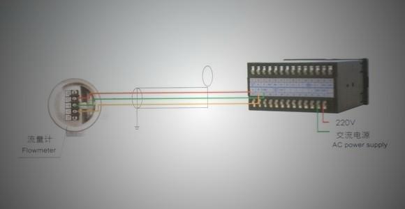 实物安装图 三.LC-LUGB涡街流量计带压力温度补偿和智能流量积算仪的接线图 1.一般情况下,流量计与智能流量积算仪的接线采用三芯屏蔽(RVVP3*0.75mm)屏蔽层应可靠的接在放大器盒内的接地螺丝上。 2.连接线不能与电力线排放在一起,至少间隔在50cm以上,最好单独穿行在金属管中。连接线要固定好,不可以晃动。