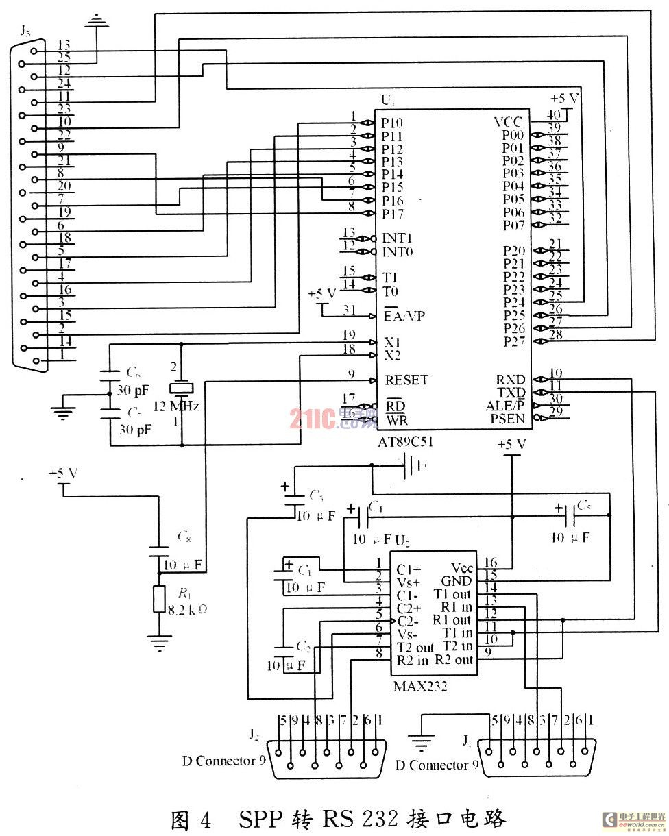 图4为以at89c51为核心的spp转rs232接口电路原理图.