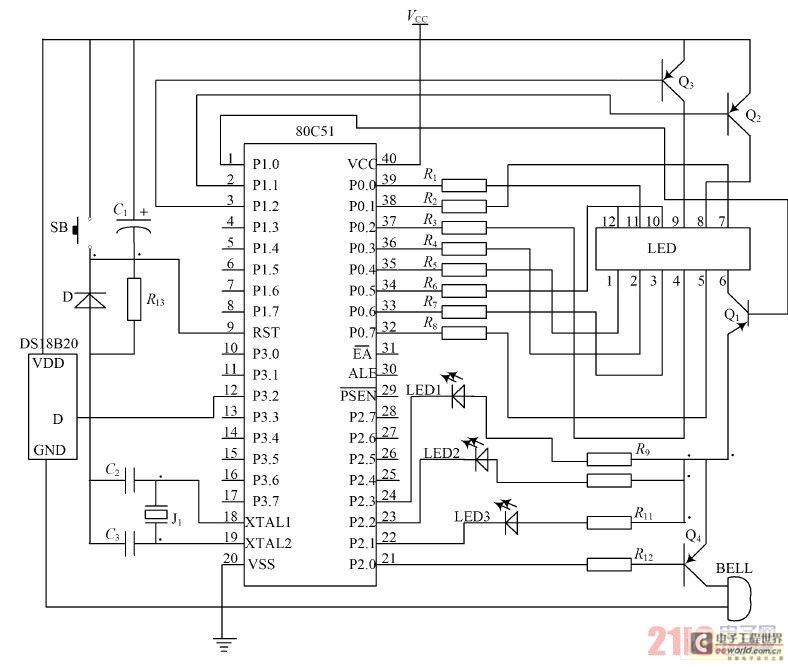 c3共同组成晶振电路;电容c1,电阻r13,sb共同构成复位电路;其中电阻r13