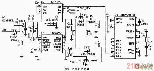 3充电电路      充电电路主要由电池a,电池b,电源管理芯片ltc4053,pmo