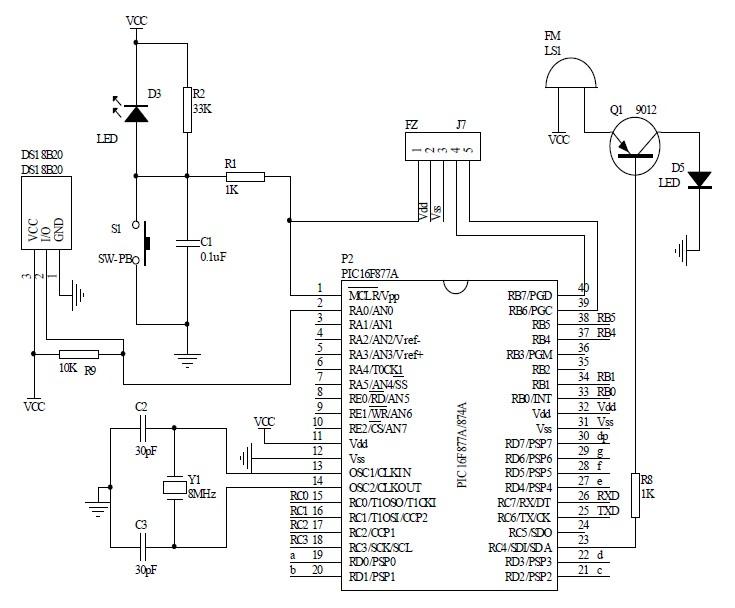 图5系统显示电路和串口通信电路图