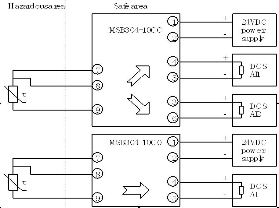 pt100隔离栅接线图
