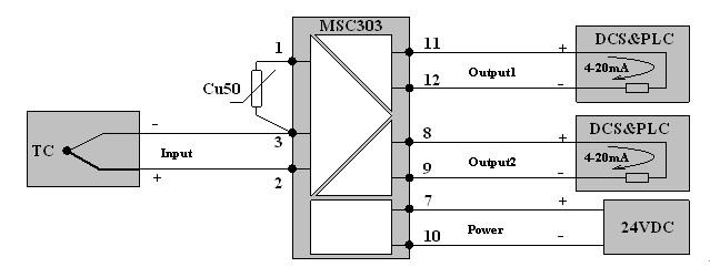 zk-msc303热电偶温度变送器