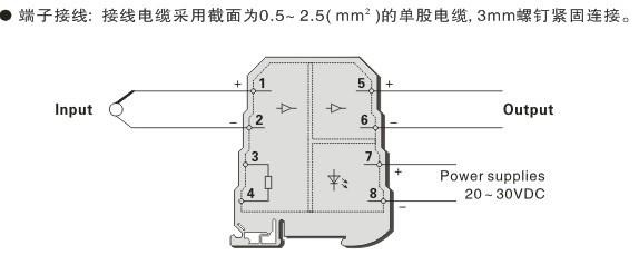 概述 用于 k,e,s,b 等型热电偶或毫伏信号输入,经过隔离, 输出标准的
