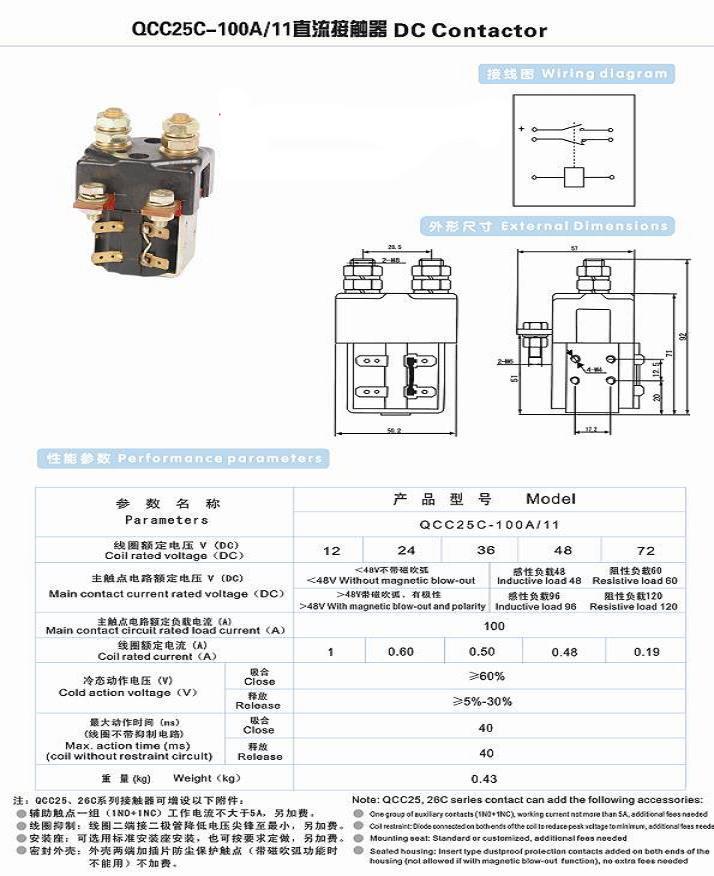 QCC25C系列直流接触器 QCC25C-100A/11直流接触器,QCC25C-200A/22直流接触器;QCC25C-200A/11直流接触器,QCC25C-100A/22直流接触器;QCC25C-400A/11直流接触器,QCC25C-400A/22直流接触器 上海永上电器有限公司 地 址:上海市黄浦区北京东路668号B507室 电 话:021- 63516777 63618777 传 真:021-63225728 邮 编:200001